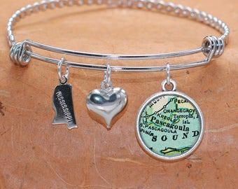 Pascagoula MS Map Charm Bracelet State of Mississippi Bangle Cuff Bracelet Vintage Map Jewelry Stainless Steel Bracelet Gifts For Her
