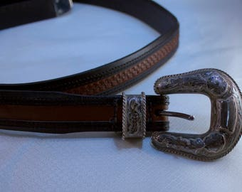 Argentine Leather Belt with Hand Etched Sterling Belt Buckle