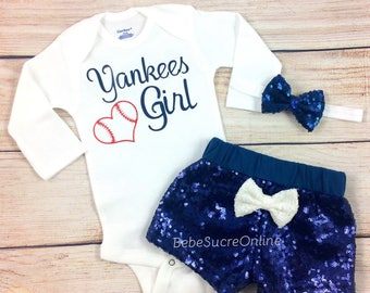New York Yankees Baby Girl Game Day Outfit, Yankees Girl, Bodysuit