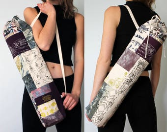 Yoga Mat Bag - Patchwork of Tie-Dyed and Screen-Printed Cotton Canvas