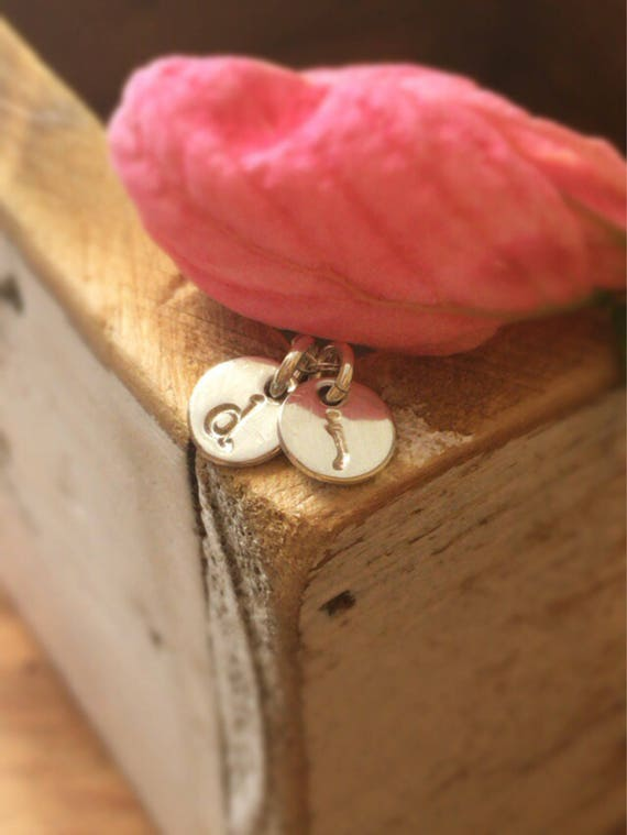 Tiny Initials Necklace - 2 Coin Disc Charms - Gold Filled Sterling Silver or Rose Gold Filled