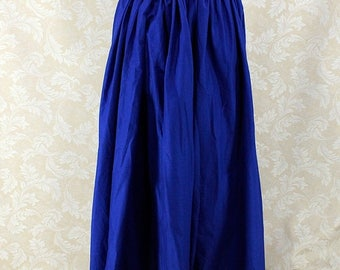 "HALF OFF Renaissance Wench Basic Skirt -- Royal Blue Cotton -- Fits up to 40"" Waist, 38"" Length -- Ready to Ship"