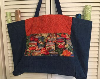 Market veggie bag with side pockets