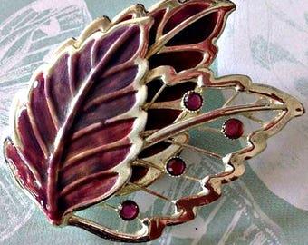 Stunning Vintage Enamel Leaf Brooch