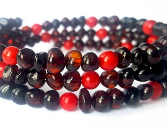 Baltic Amber Teething Bracelet with Turqoise Red Coral