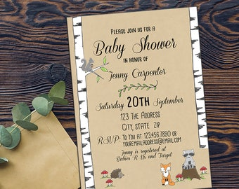 Forest Animal Baby Shower Invitation-DIGITAL INVITATION-Printable Invite Card - Kraft Fox Raccoon Squirrel Hedgehog Forest Creatures