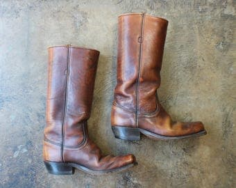 Size 9 Frye BOOTS / Brown Leather Cavalry Boots / Vintage Campus Boot