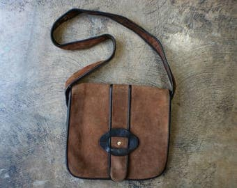 Brown Suede HANDBAG / Vintage Mini Satchel / 1970's Handbag