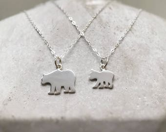 Mama Bear Baby Bear Mommy Mom Daughter Necklace Set of Two Necklaces Sterling Silver Bear Jewelry
