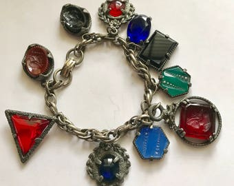 Chunky CHARM BRACELET Vintage Molded Glass Intaglio Cameo & More Black Red Blue Green