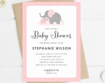 Printable Baby Shower Invitation, Elephant