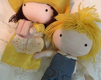 2 vintage pocket dolls 1969s joan welsh girl and boy yarn hair