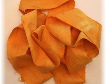 Hand Dyed Cotton Ribbon / Seam Binding / 2 Yards Orange