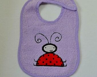 Ladybug Toddler Bib - Ladybug Applique Lavender Terrycloth Toddler Bib