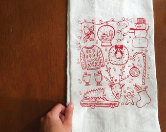 Flour Sack Tea Towel - Christmas  - Hand Printed Original illustration - holiday, tree, ugly sweater, eggnog, winter, snowman, illustration