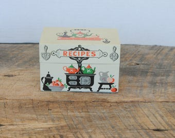 Vintage Stylecraft Recipe Box with Recipes Kitchen Stove Design