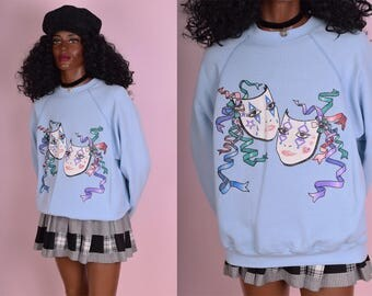 80s Smile Now Cry Later Sweatshirt/ Large/ 1980s/ Vintage