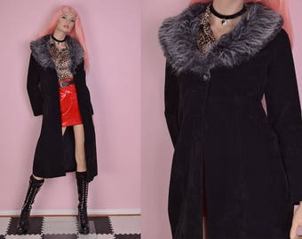 90s Faux Fur Collar Black Faux Suede Coat/ XS/ 1990s/ Jacket