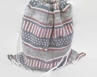 Faded Red White Blue Patriotic Cinch Sack Upcycled Drawstring Backpack, Amrican Flag, Americana