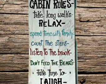 Handmade Cabin, camping sign - hand painted cabin rules - cabin sign - gift for women - Custom cabin rules sign - hand painted rules sign -