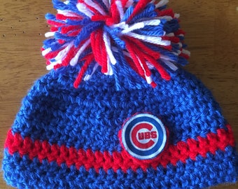 Crocheted Chicago Cubs Baby Hat