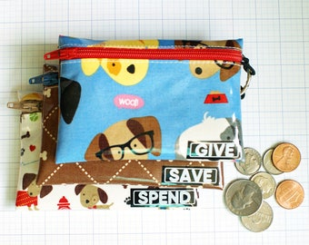 Dogs Give Save Spend kids budget wallet set | wipeable cash envelopes for kids