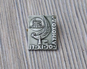 "Vintage Soviet Russian Space badge,pin.""Lunohod-1"""