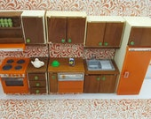Lundby Herd Kühlschrank Geschirrspüler sinken und Holz-Zähler hergestellt in England Barton Puppe Möbel Küche Orange MCM
