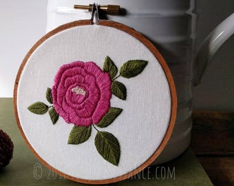 Hand Embroidery Rose Botanical Hoop Art Wall Hanging Single Cottage Rose