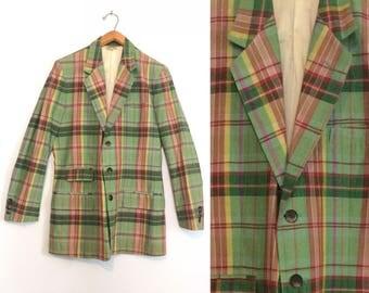 Vintage 60s Green Plaid Blazer / Preppy Spring Suit Jacket / Madras Mid Century Sport Coat / Size 40