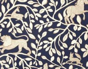 """Two  96"""" x 50""""  Custom  Lined Curtain Panels - Robert Allen Pantheon Admiral - Toile Navy Blue"""