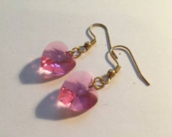 Swarovski Crystal Heart Earrings (Pink)