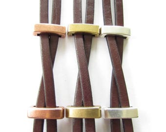Free Shipping. Men's Leather Bracelet:Chocolate Brown Genuine Leather, Sliders with Magnetic Clasp.