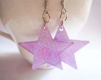 Purple Glitter Star Earrings - Purple Sparkle Earrings - Oversized Star Dangle Earrings - Acrylic Kawaii Star Earrings