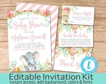 Girl Elephant Baby Shower Invitation Kit, Safari Floral Invitation Set, Editable Shower invitation Suite, Elephant Invite, Instant Download