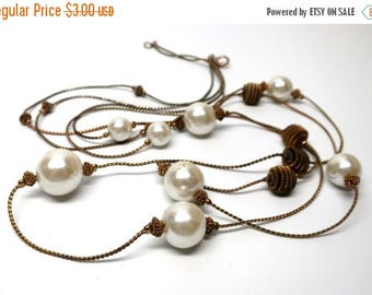 HALF OFF SALE Old Gold and Pearl Necklace for Found Object Art and Jewelry