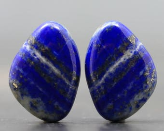 Afghanistan Blue Lapis Lazuli Pair with Rare Bands, Stripes Polished Specimens for Earrings and Jewelry (CA8802)