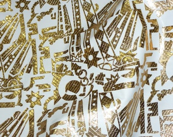 """Leather CLOSEOUT 8""""x10"""" Abstract Tool pattern GOLD metallic on WHITE Cowhide #261 1.5-2 oz / 0.6-0.8m PeggySueAlso™"""