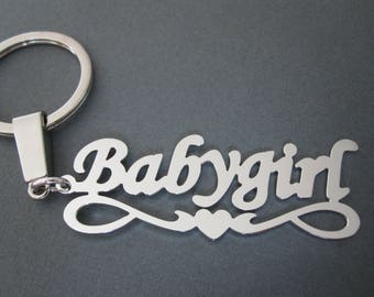 Personalized White Gold Name Keychain with Design A