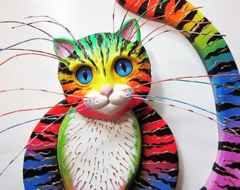 Cat art-Crazy cat lady art- whimsical cat sculpture-colorful cat sculpture-cat wall decor