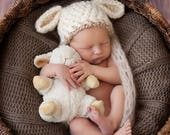 CUSTOM LISTING for Kristal size 0-3 lamb hat and diaper cover with pink ribbon