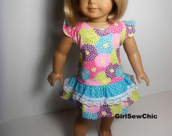 18 Inch Doll Clothes AG Dress Bright Floral Ruffle  Adorable For a Party
