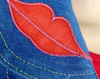 Cute Vintage 70s Denim Waistcoat Customised With Heart Buttons And Lips Applique Size Small To Medium