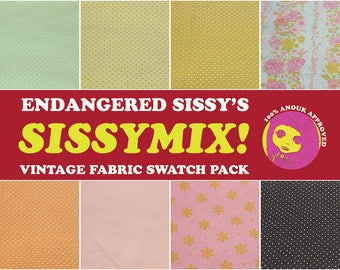 Sissymix Vintage Fabric Swatch Pack - flocked and dotted Swiss cotton III - pink, orange, yellow, green, brown