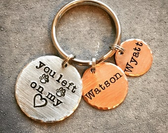 Pet Memorial Keychain - You Left Paw Prints On My Heart - Pet Dog Cat Keychain Remembrance Keychain