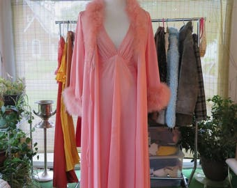 Vintage 1970's MARABOU Robe and Halter Negligee Set, Size M/L