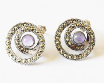 SALE Vintage Sterling Silver Marcasite and Amethyst Art Nouvea Style Pierced Circle Earrings