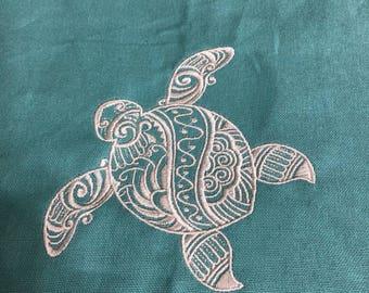 New Tea Kitchen towel embroidered Mehndi TURTLE