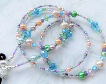 PEARL BEAUTY- Handcrafted Beaded Eyeglass Lanyard- Pearl Beads and Sparkling Crystals