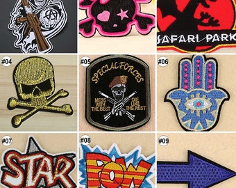 1/10PCS Embroidered Sew On Patches  Punk Style Transfer Fabric Clothes Applique